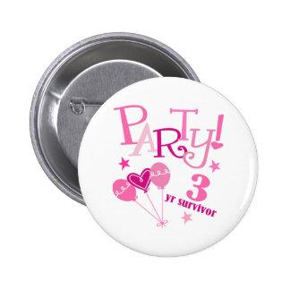Breast Cancer Survivor 3 Year Pinback Buttons