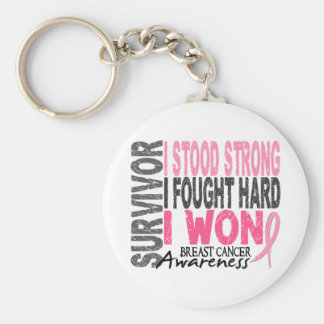 Breast Cancer Survivor 4 Basic Round Button Keychain
