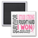 Breast Cancer Survivor 4 Refrigerator Magnets