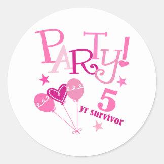 Breast Cancer Survivor 5 Year Classic Round Sticker