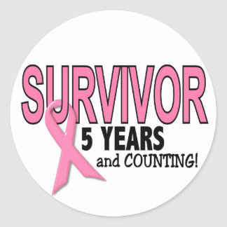 BREAST CANCER SURVIVOR 5 Years & Counting Classic Round Sticker