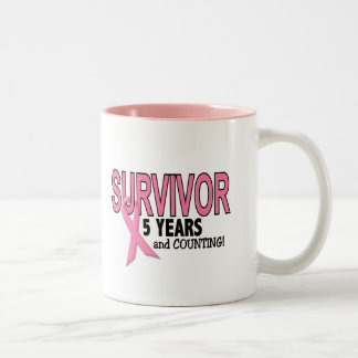 BREAST CANCER SURVIVOR 5 Years & Counting Two-Tone Coffee Mug