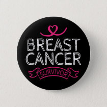 Breast Cancer Survivor Awareness Heart Button