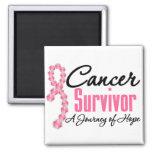 Breast Cancer Survivor Awareness Journey Ribbon Fridge Magnet