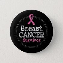 Breast Cancer Survivor Awareness Ribbon Button