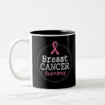 Breast Cancer Survivor Awareness Ribbon Two-Tone Coffee Mug