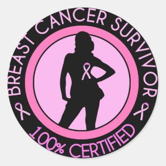 Breast Cancer Survivor Badge Round Stickers