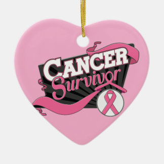 Breast Cancer Survivor Banner Double-Sided Heart Ceramic Christmas Ornament