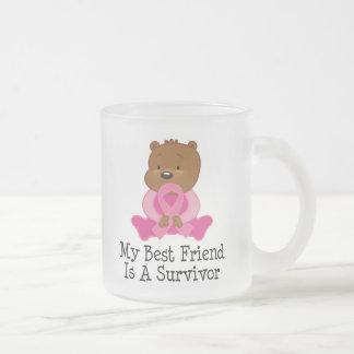 Breast Cancer Survivor Best Friend Frosted Glass Coffee Mug