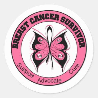 Breast Cancer Survivor Butterfly Round Stickers