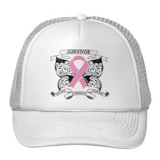 Breast Cancer Survivor Butterfly Strength Mesh Hat
