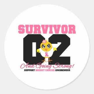Breast Cancer Survivor Chick 02 Years Round Sticker