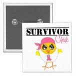Breast Cancer Survivor Chick 2 Inch Square Button