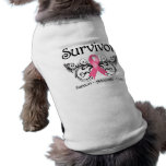 Breast Cancer Survivor Floral Deco Dog T-shirt