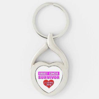 Breast Cancer Survivor I Love You Keychain