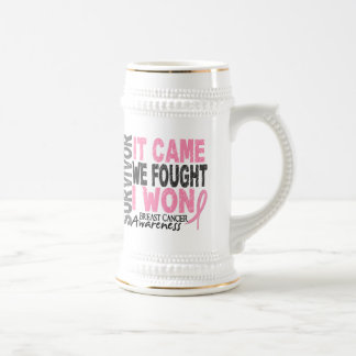 Breast Cancer Survivor It Came We Fought I Won Beer Stein