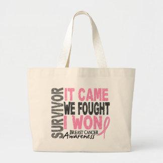 Breast Cancer Survivor It Came We Fought I Won Large Tote Bag