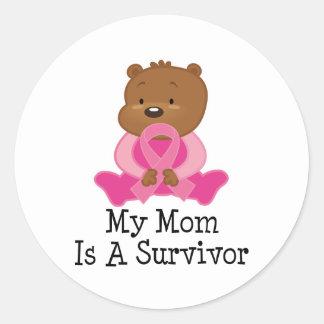 Breast Cancer Survivor Mom Classic Round Sticker