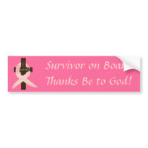 Breast Cancer Survivor On Board Bumper Sticker