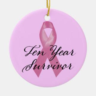 Breast Cancer Survivor Ornament Ten Year