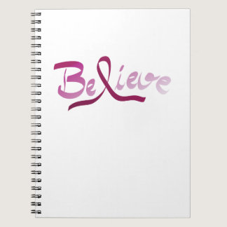 Breast Cancer Survivor Pink Ribbon Believe Gifts Notebook