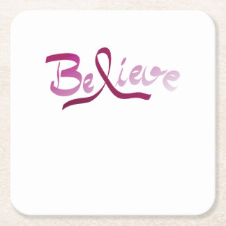 Breast Cancer Survivor Pink Ribbon Believe Gifts Square Paper Coaster