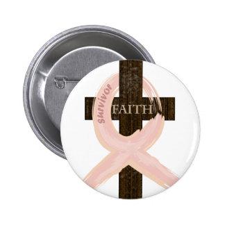 Breast Cancer Survivor Pink Ribbon-Cross of Faith Button