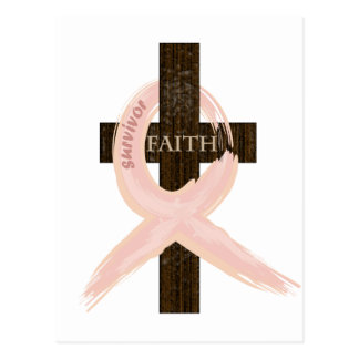 Breast Cancer Survivor Pink Ribbon-Cross of Faith Postcard