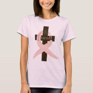 Breast Cancer Survivor Pink Ribbon-Cross of Faith T-Shirt