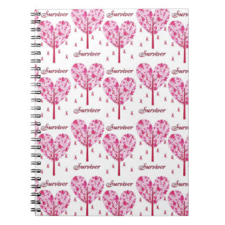 Breast Cancer Survivor Pink Ribbon Tree Gifts Notebook