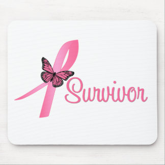 Breast Cancer Survivor Ribbon Mouse Pads