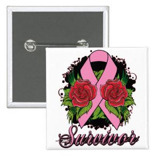 Breast Cancer Survivor Rose Tattoo Pinback Button