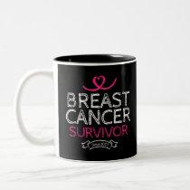 Breast Cancer Survivor Since 2007 Awareness Heart Two-Tone Coffee Mug