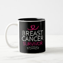 Breast Cancer Survivor Since 2008 Awareness Heart Two-Tone Coffee Mug