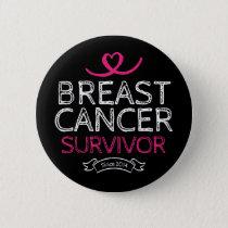 Breast Cancer Survivor Since 2014 Awareness Heart Button