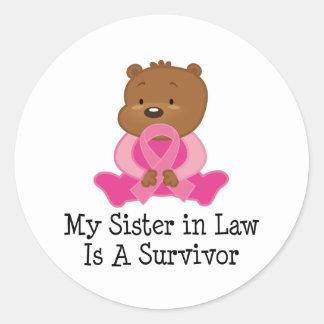 Breast Cancer Survivor Sister in Law Round Sticker