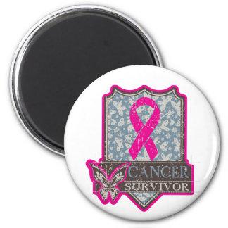 Breast Cancer Survivor Vintage Butterfly 2 Inch Round Magnet