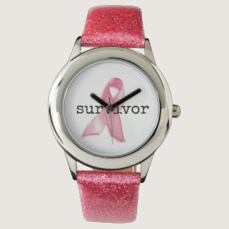 Breast CAncer Survivor Watch with pink strap