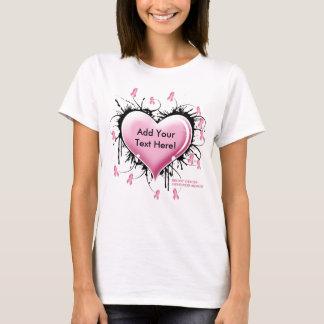 Breast Cancer Tattoo Heart - Customized Text T-Shirt