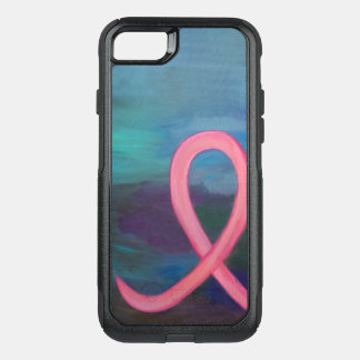 Breast-Cancer Tech   Bold Pink Ribbon Modern OtterBox Commuter iPhone 8/7 Case