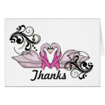 Breast Cancer Thank You Card  With Pink Swans
