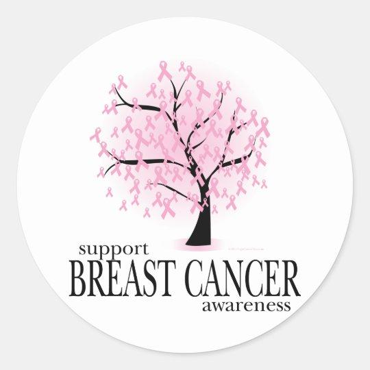 Breast Cancer Tree Classic Round Sticker