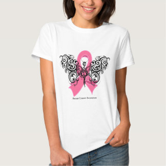 Breast Cancer Tribal Butterfly Ribbon T-shirt