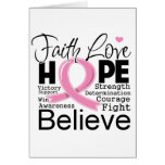 Breast Cancer Typographic Faith Love Hope Card