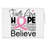 Breast Cancer Typographic Faith Love Hope Cards