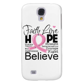 Breast Cancer Typographic Faith Love Hope Samsung Galaxy S4 Covers