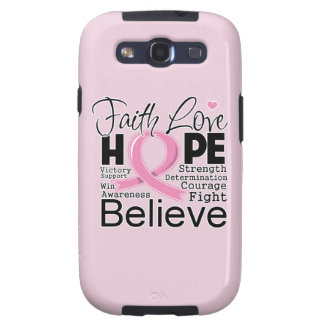 Breast Cancer Typographic Faith Love Hope Galaxy SIII Cases