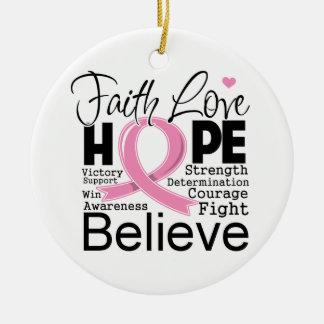 Breast Cancer Typographic Faith Love Hope Ceramic Ornament