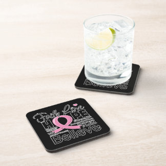 Breast Cancer Typographic Faith Love Hope Drink Coaster