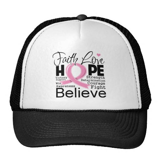 Breast Cancer Typographic Faith Love Hope Trucker Hats